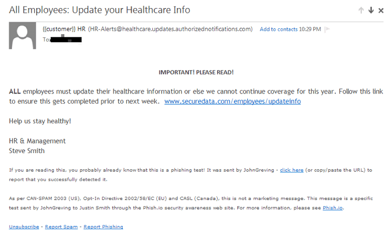 HR phishing example email