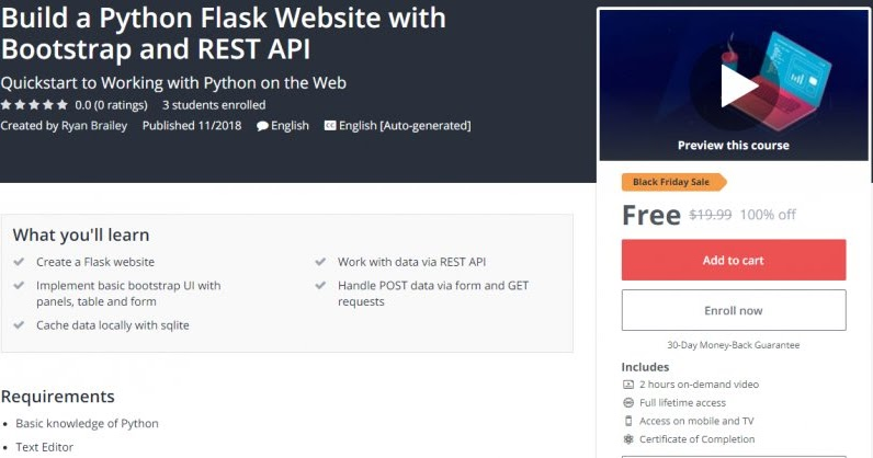 100% Off] Build a Python Flask Website with Bootstrap and