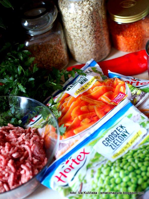 mrozone warzywa, mrozonki, hortex, groszek zielony, mini marchewka, mieszanka kwiatowa, pieczen w warzywami