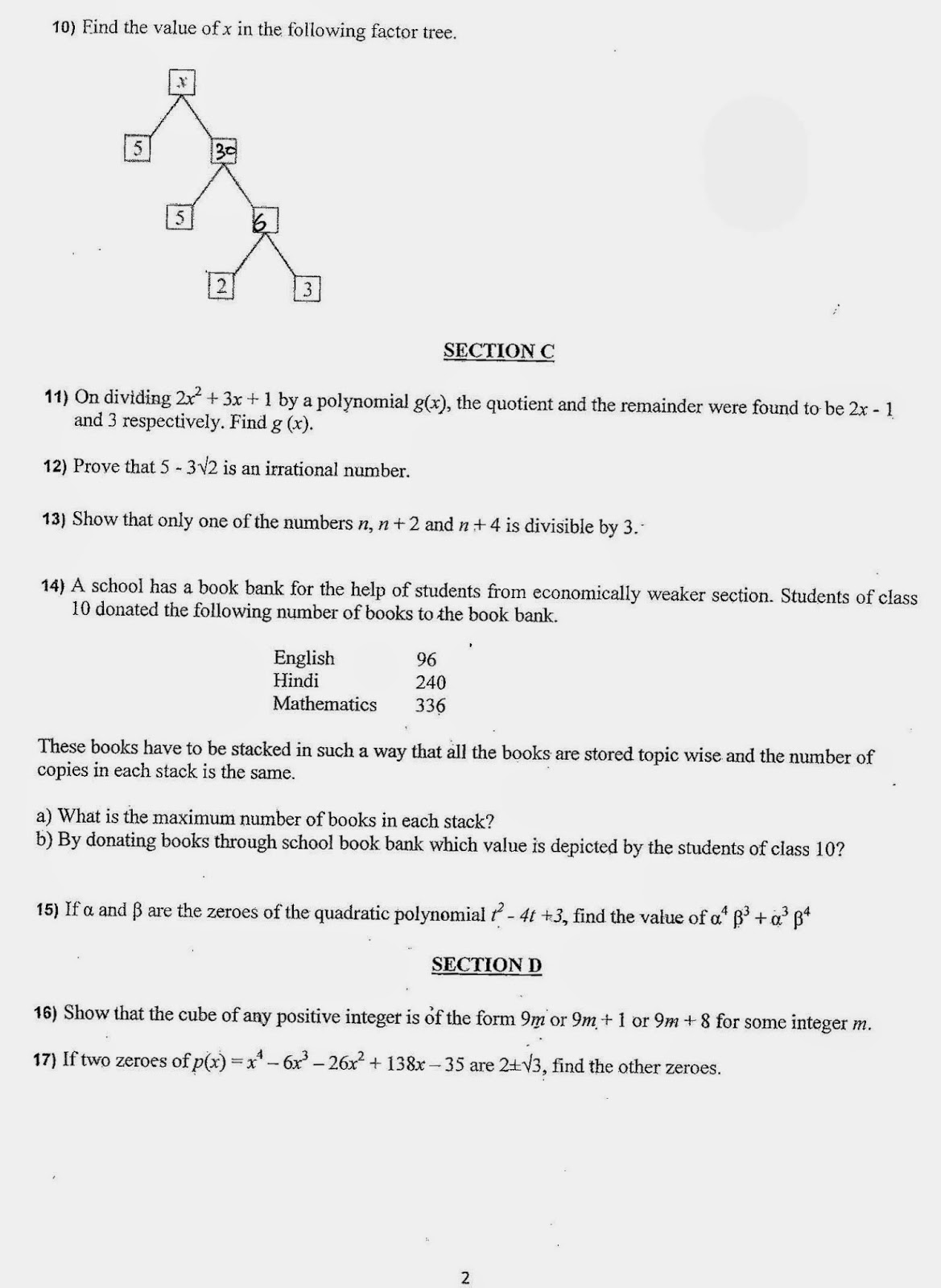 Fa1 sample paper for class 9 maths