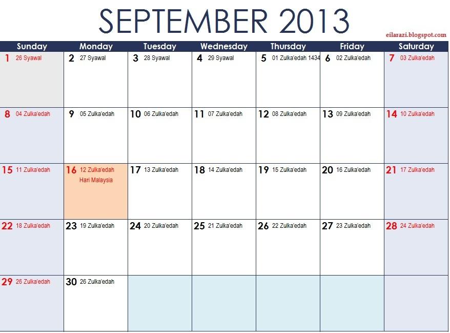 EilaRazi: Kalendar Tahun 2013 Plus Kalendar Islam Safar ...
