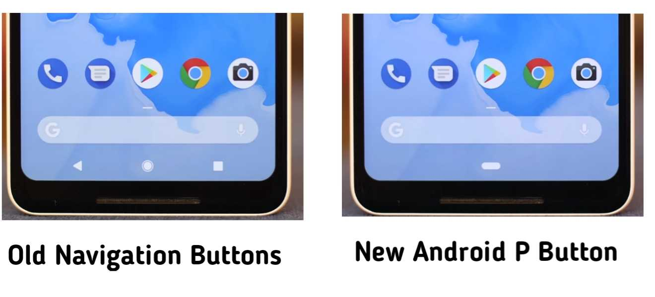 Old Navigation buttons vs new single pill button on android P