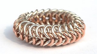 Chainmaille Ring aus 925er Argentinum Silber 14kt Rose Gold filled