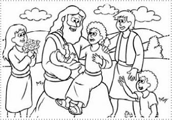 Tia Paula: Jesus e as crianças para colorir