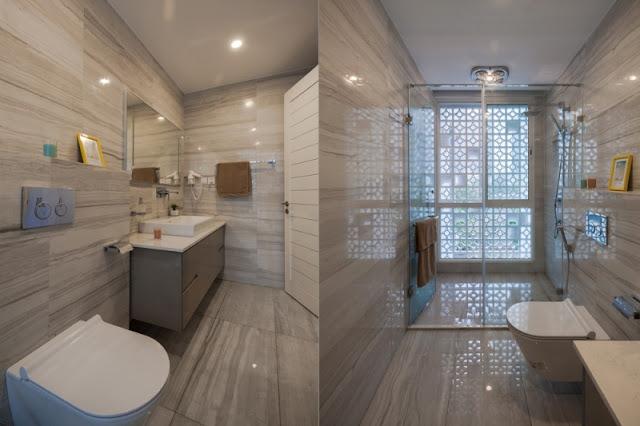 Phòng tắm được ốp tường dị biệt và không kém phần đẹp mắt