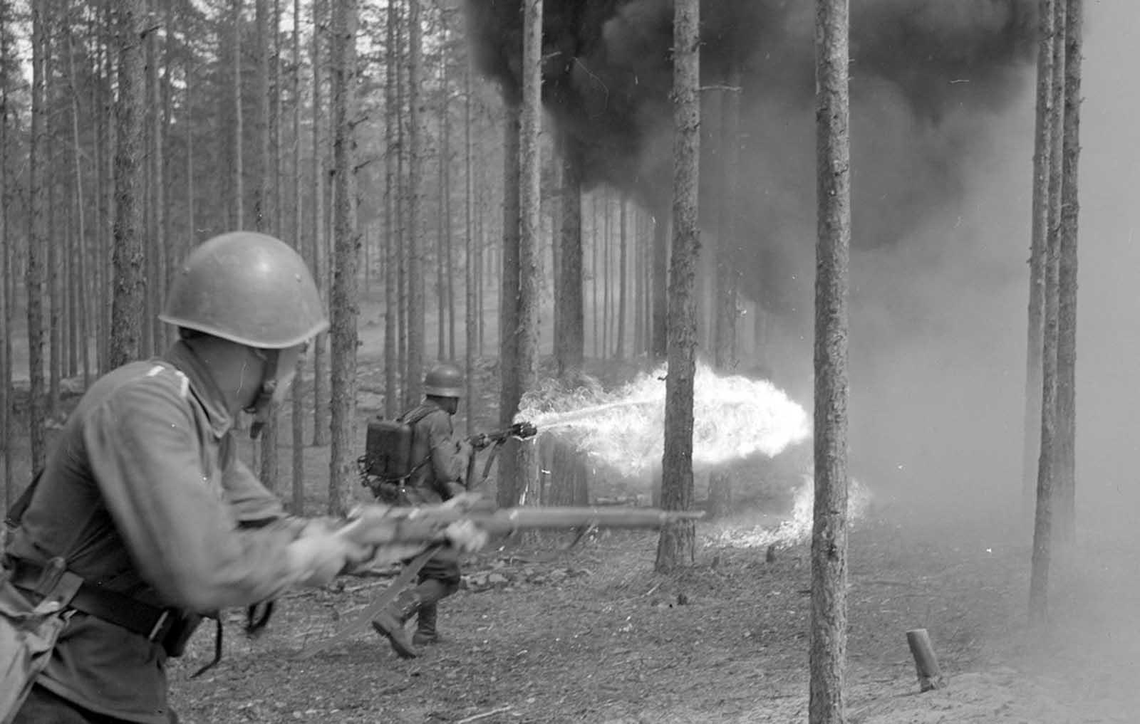 Lanzallamas en acción en los bosques cercanos al pueblo de Niinisalo, el 1 de julio de 1942.