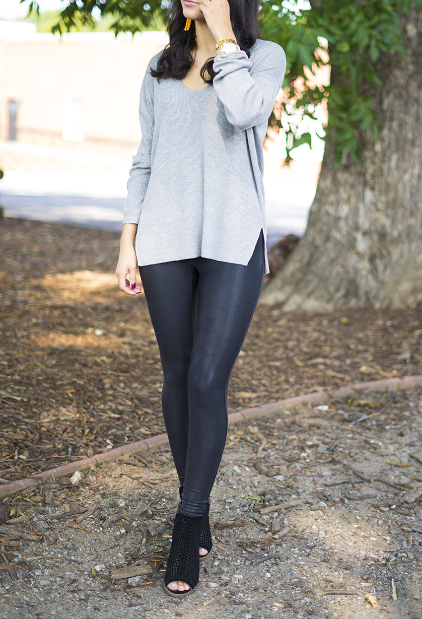 how to style leather leggings for fall, fall outfits leather leggings
