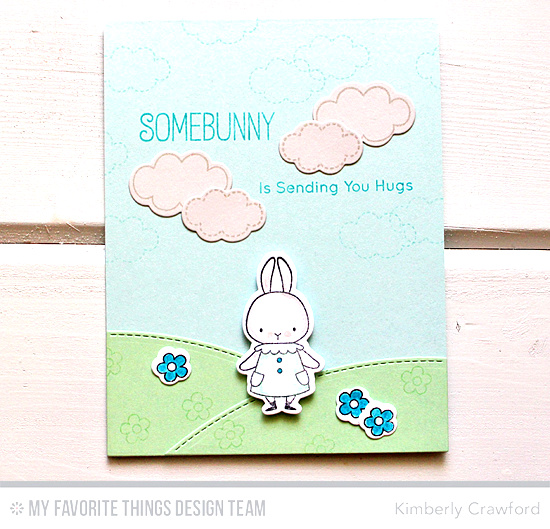 Handmade card from Kimberly Crawford featuring Somebunny stamp set and Die-namics and Stitched Valley Die-namics #mftstamps