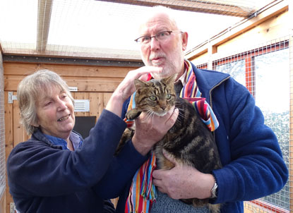 Jim and Mary Hall reunited with their moggy Desmond