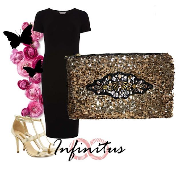 Look con vestido negro, sandalias doradas y clutch joya color oro