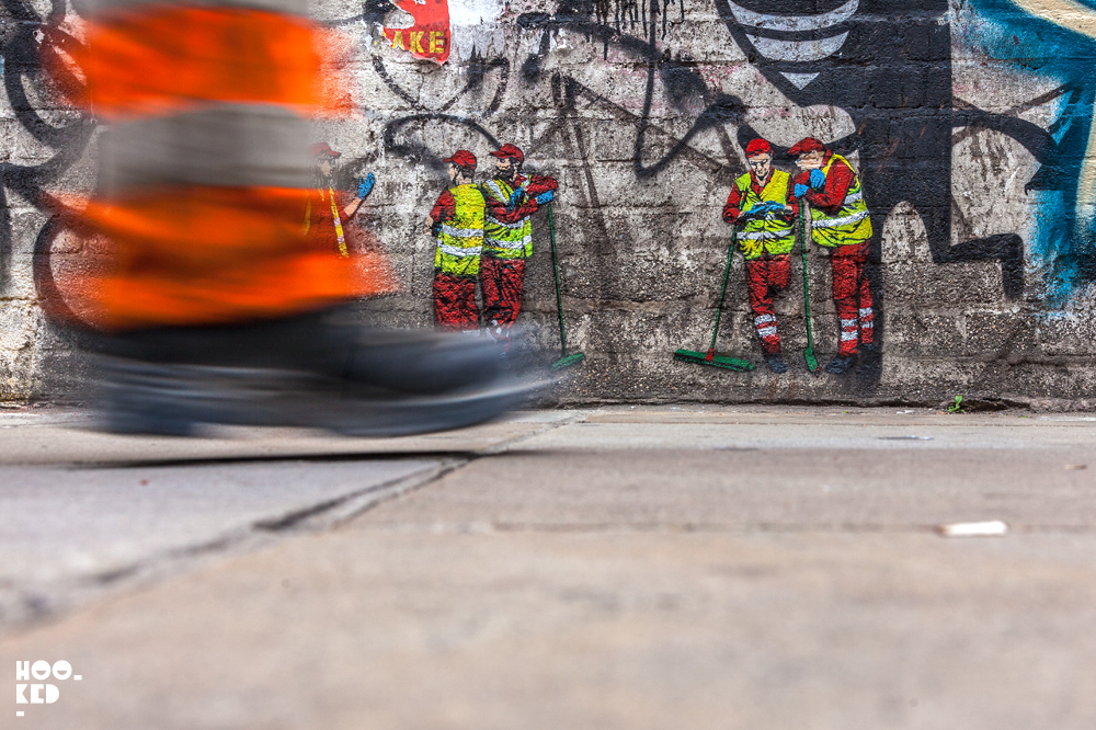 Belgian Street Artist Jaune's stencil work on Brick Lane, London