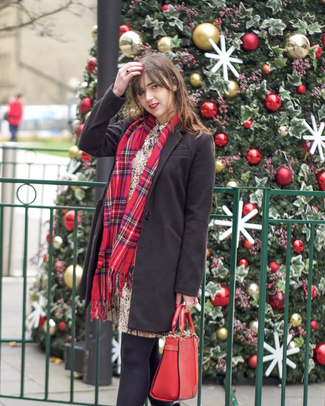 red tartan scarf