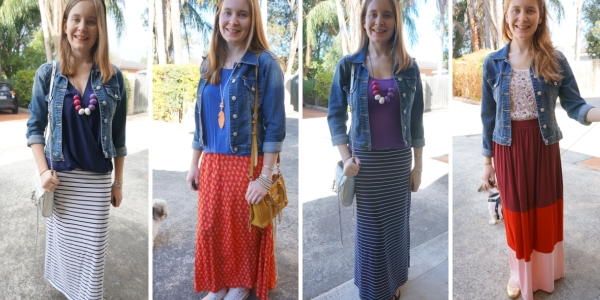 Denim jackets and striped maxi skirts easy spring outfits | Away From The Blue
