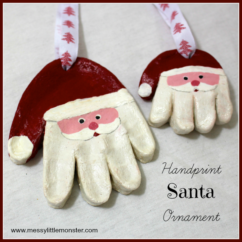 Salt dough Santa handprint ornament and easy salt dough recipe. Salt dough ornaments are an easy christmas craft for kids.