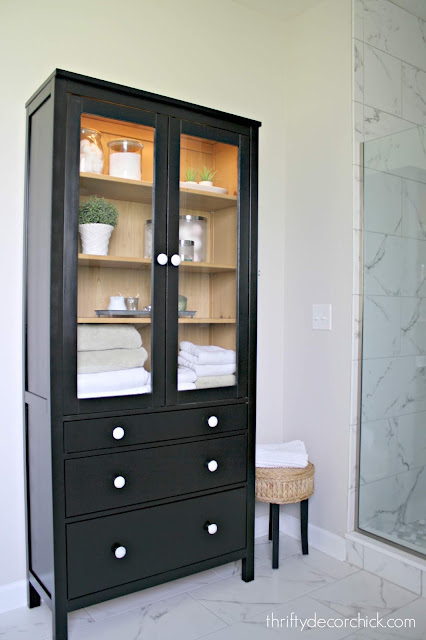 Cabinet with interior lighting Hemnes for bathroom or dining