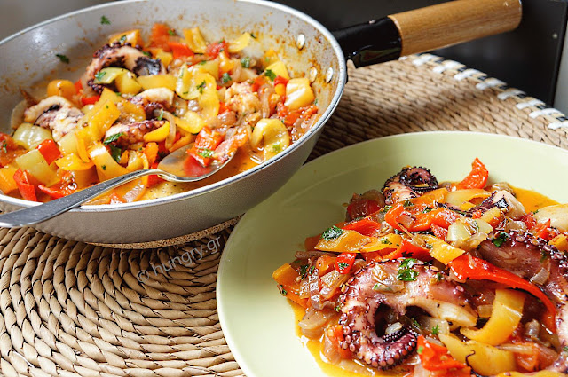 Octopus with Colorful Peppers