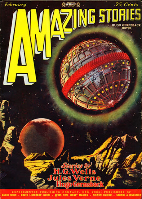 """Amazing Stories"" magazine cover depicting a huge, spherical space craft hovering over an alien landscape."