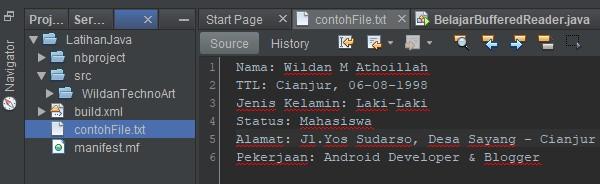Screenshot contoh file txt