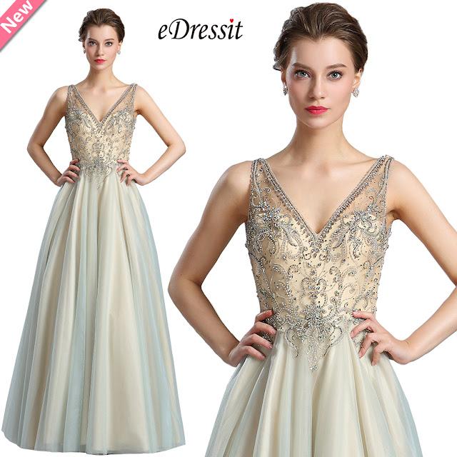 Sparkly V Cut Beaded Women Evening Dresses