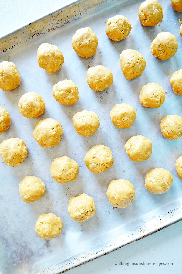 Roll the peanut butter mixture into 1 inch balls for Chocolate Peanut Butter Balls from Walking on Sunshine Recipes