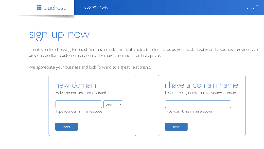 Select an option and start creating your Bluehost Account