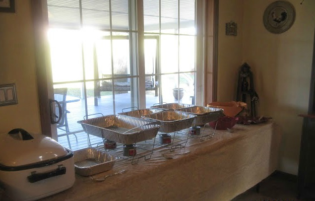Buffet Table set for Thanksgiving from Walking on Sunshine Recipes
