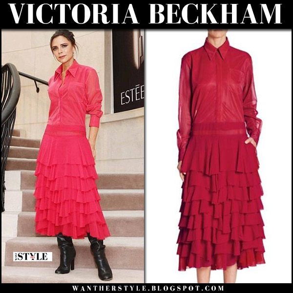 Victoria Beckham in red ruffled midi dress at Estee Lauder beauty collection launch october 4 2017 fashion