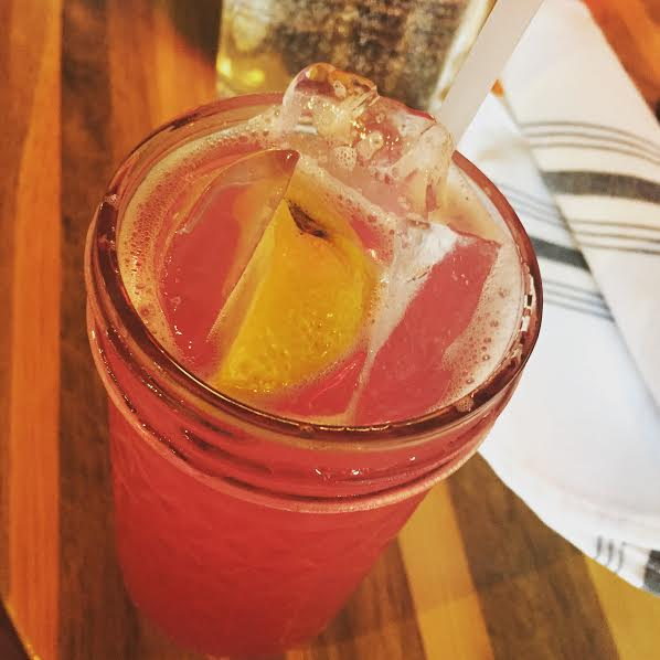 Blueberry Lemonade at Punch Bowl Social made with fresh blueberry syrup and lemons.