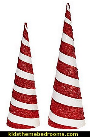 Candy Cane Striped Christmas Cone Trees in Sparkling Red and White