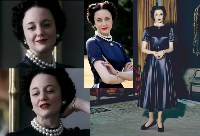 Fabulous Film Fashions W.E.  - Wallis - Dark Blue Satin Gown - Dior