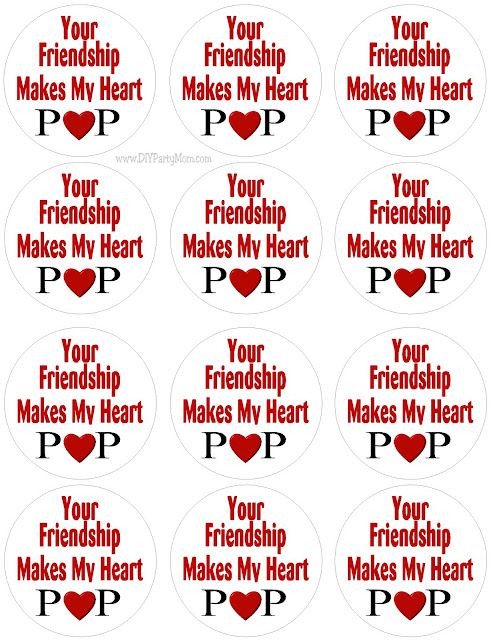 Your Friendship Makes My Heart Pop Printable Valentine Tag