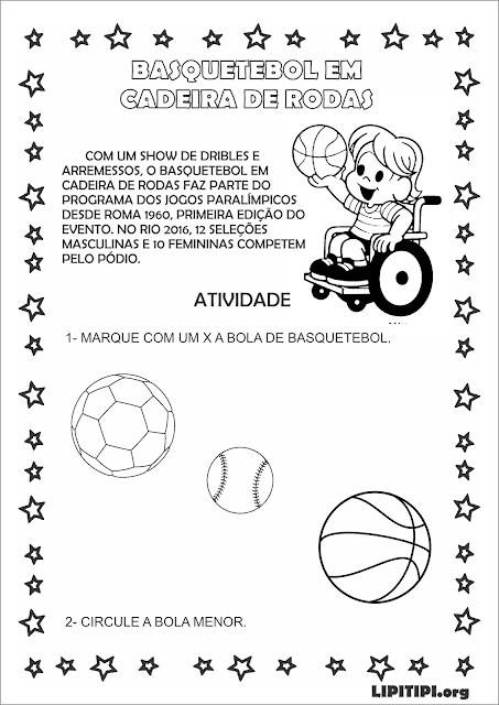 Atividade Paralimpíadas Discriminação visual Educação Infantil