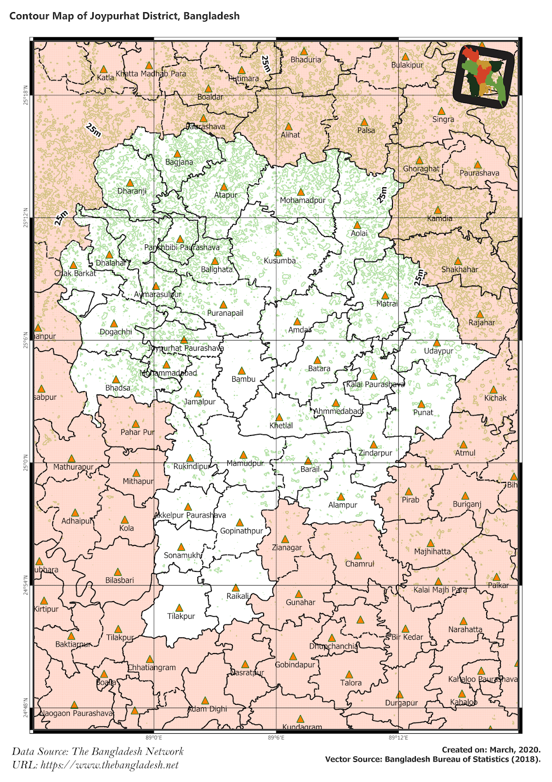 Elevation Map of Joypurhat District of Bangladesh