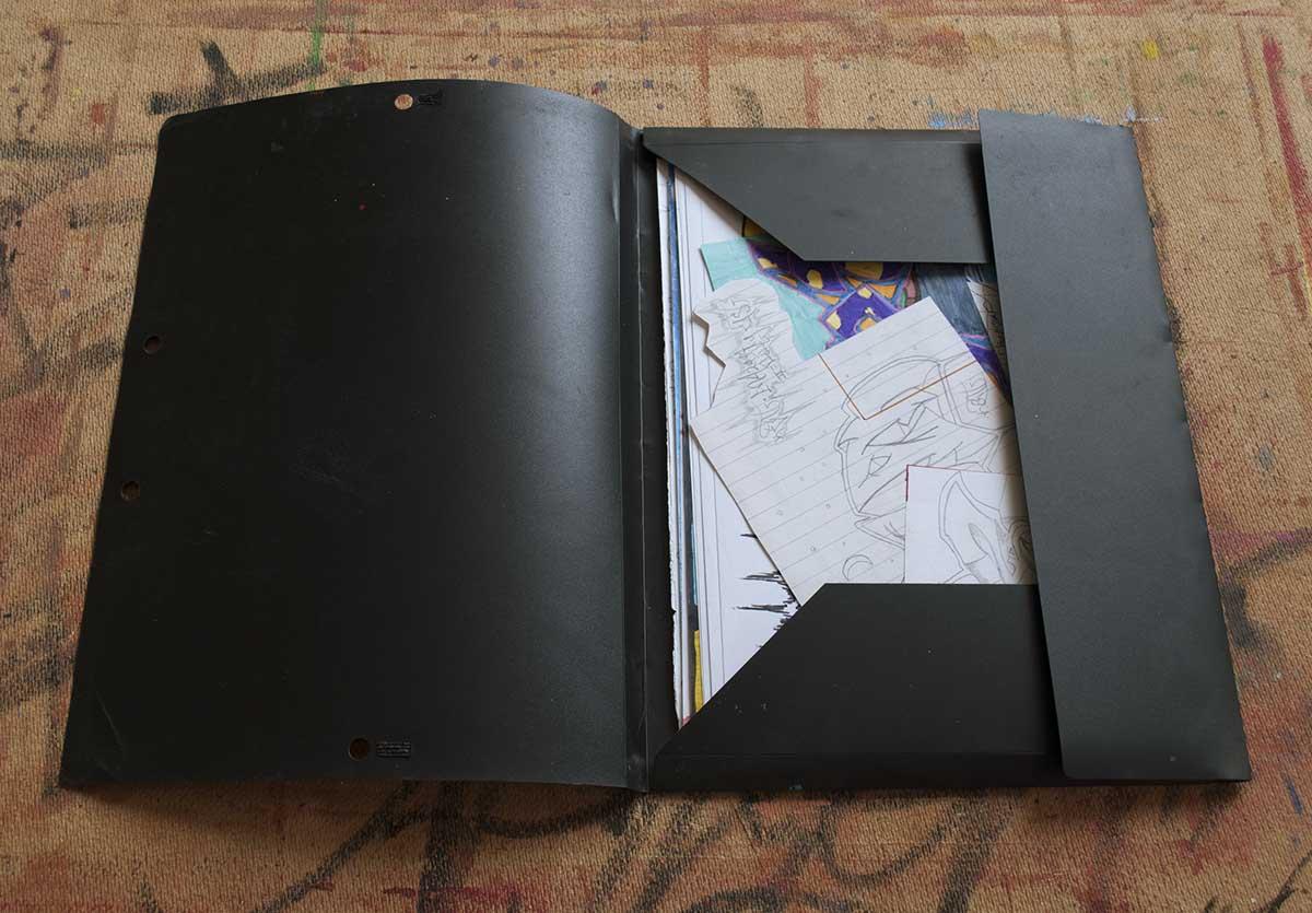 First Folder of Greek Artist Kostas Gogas 2001, graffiti sketches. Open.