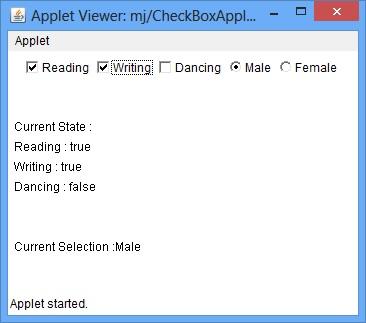 Java Check box Example