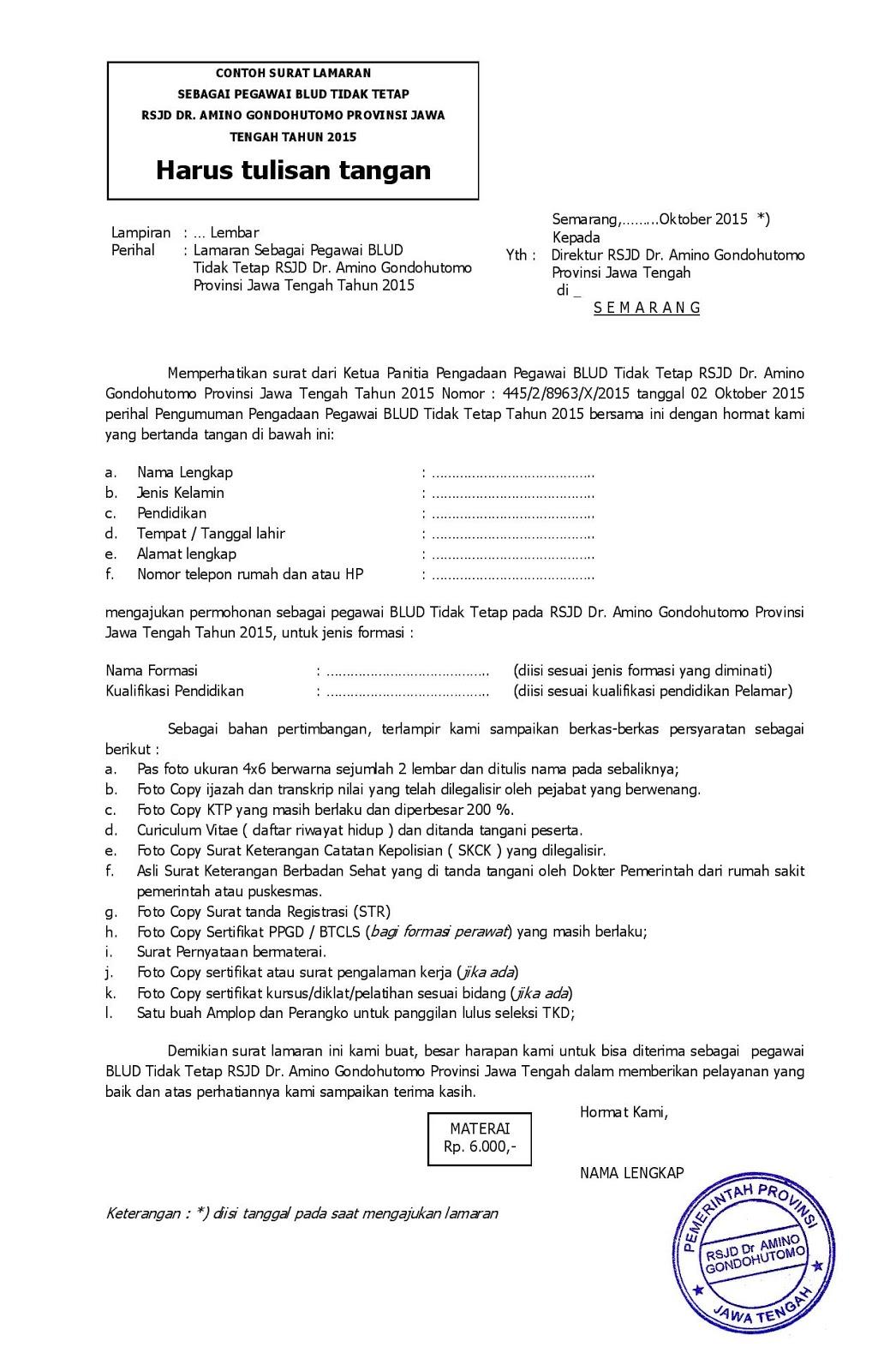 Contoh Surat Lamaran Kerja Pegawai Bumn