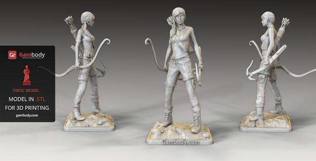 Lara Croft figure for 3D printing