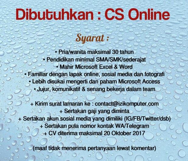 Lowongan Kerja CS Online di Izi Komputer Gombong
