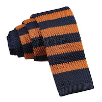 MENS KNITTED NAVY BLUE AND ORANGE STRIPED TIE