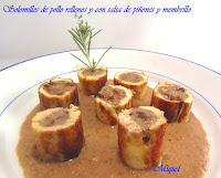 Solomillos de pollo rellenos con salsa de piñones y dulce membrillo
