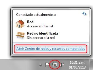Menú del ícono de Red