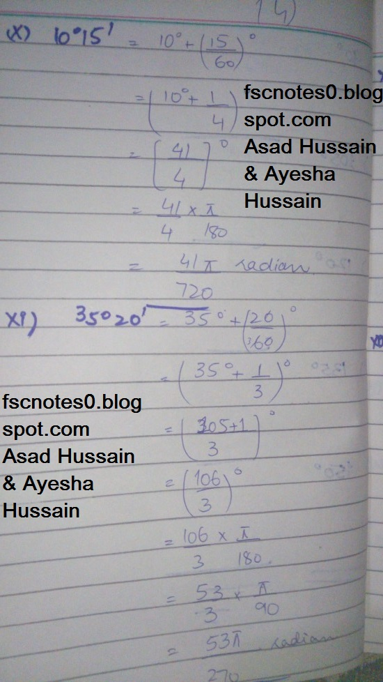 FSc ICS FA Notes Math Part 1 Chapter 9 Fundamentals of Trigonometry Exercise 9.1 Question 1 by Asad Hussain & Ayesha Hussin 2