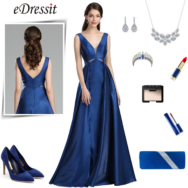 fancy blue v neck long prom ball gown
