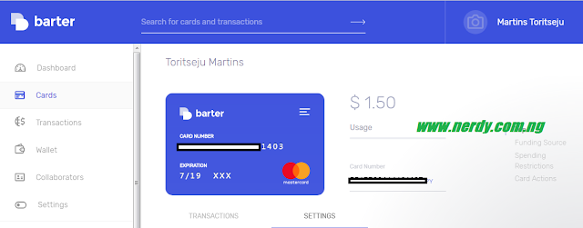 Create Barter Card: card funded