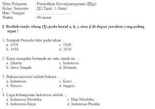 Soal-Ulangan-Ujian-UKK-Kewarganegaraan-Semester-1-UAS-PKN-kelas-3-SD