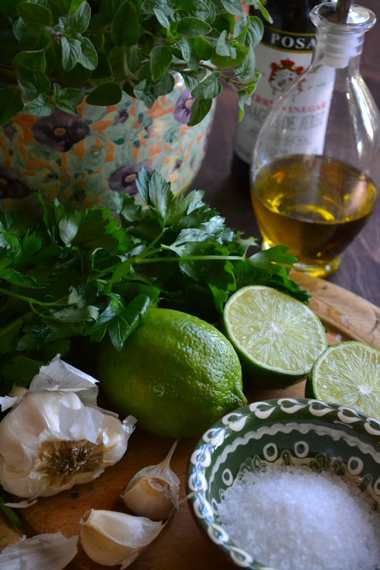 ingredients for chimichurri sauce