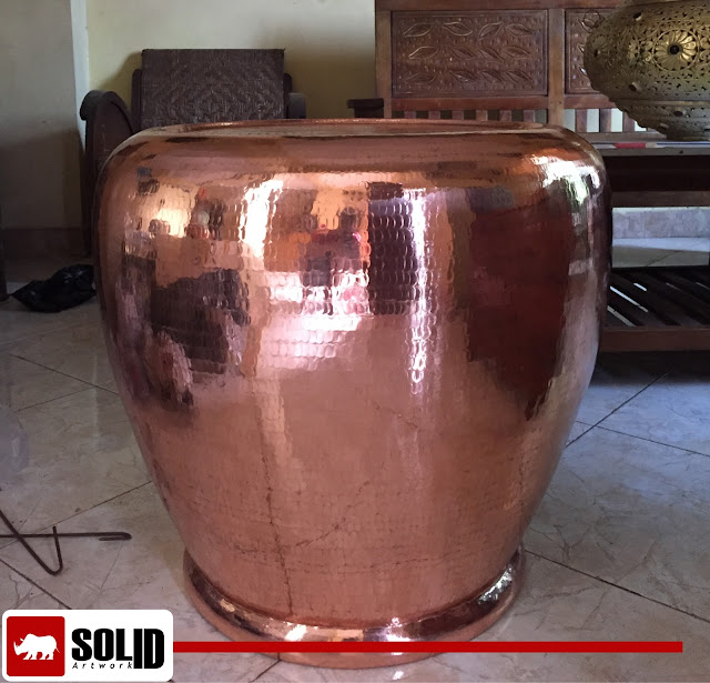 copper hammered drum table