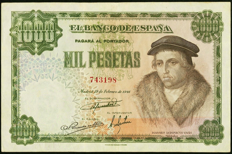 Spain Banknotes 1000 Pesetas banknote 1946 Juan Luis Vives
