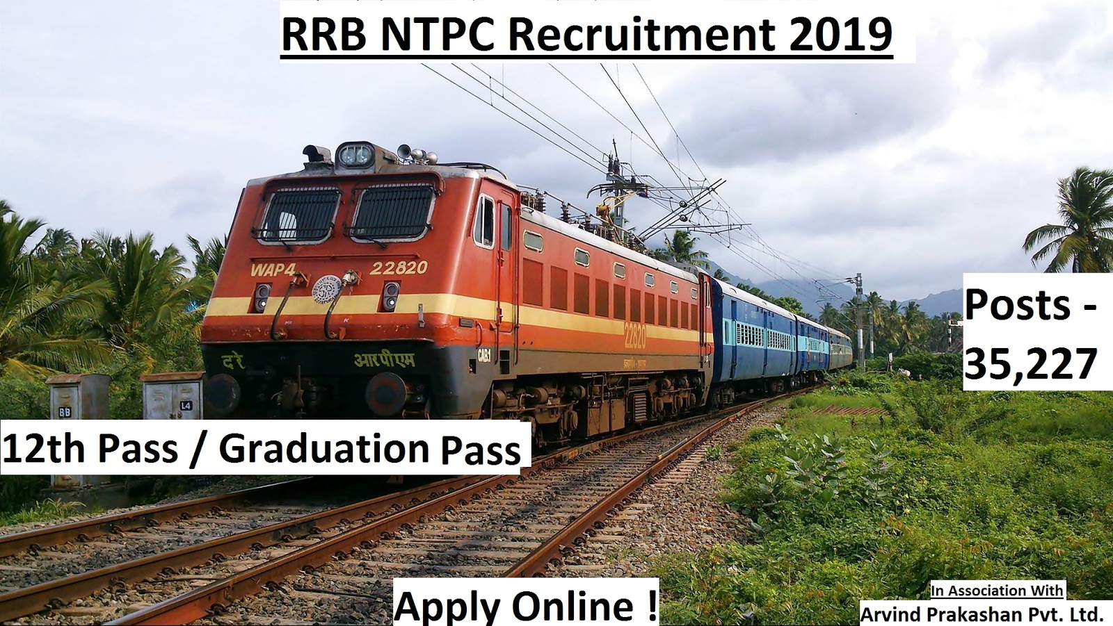 RRB NTPC Recruitment 2019 | 35227 Posts - 12th / Graduation Pass | Apply Online